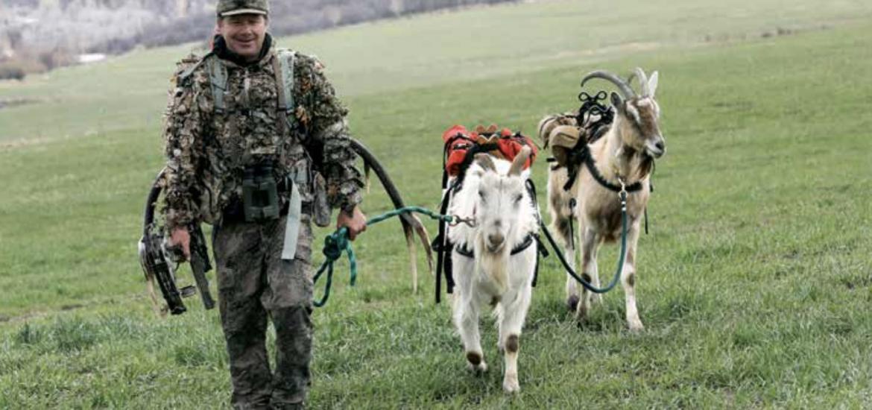 Cedar Beauregard with his pack goats. (Photo by John F. Russell)